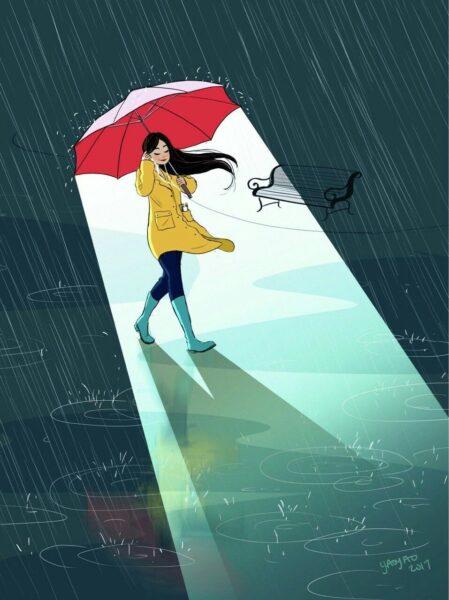 Ảnh độc thân dưới mưa