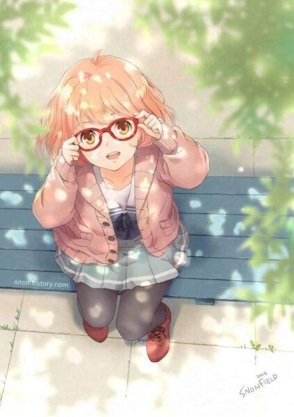 anime girl đeo kính dễ thương
