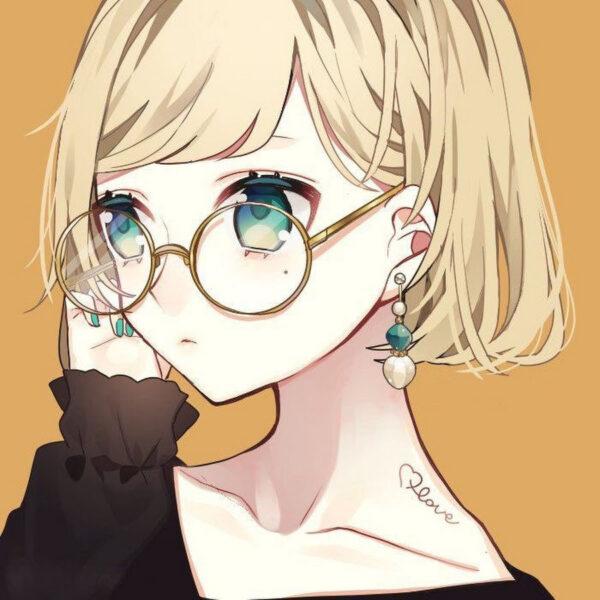 Anime girl đeo kính tròn