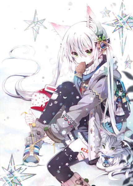 anime girl mèo tóc trắng