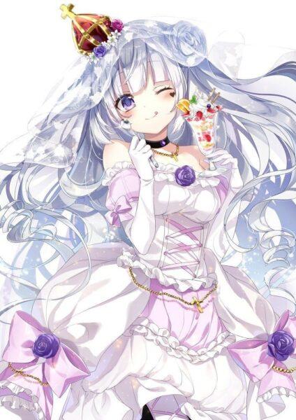 anime girl tóc trắng