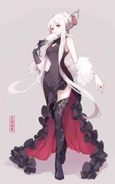 anime girl tóc trắng mắt đỏ