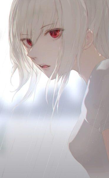 anime girl tóc trắng mắt đỏ lạnh lùng