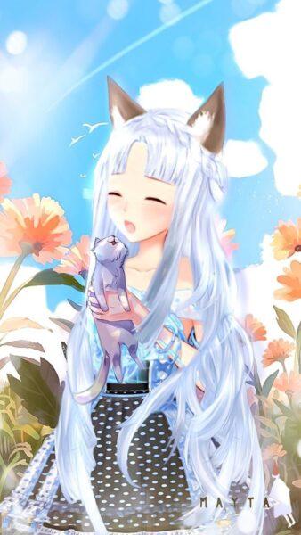 anime girl tóc trắng ngọt ngào