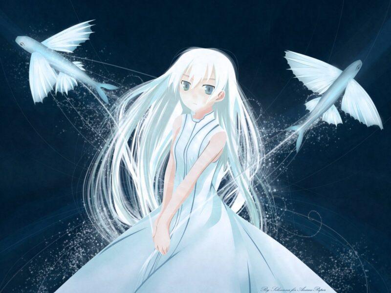 anime girl tóc trắng và hai chú cá