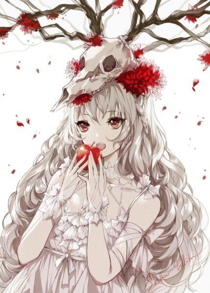 anime girl tóc trắng và trái táo đỏ