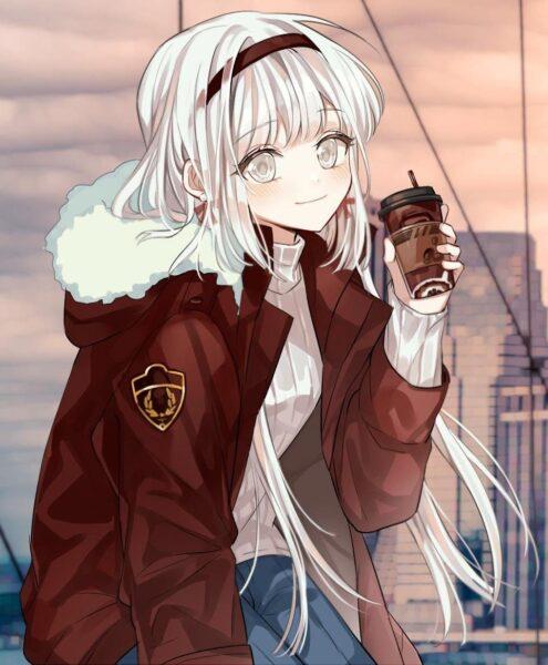 anime girl tóc trắng xinh đẹp, dễ thương