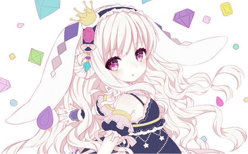 anime girl tóc trắng xinh đẹp