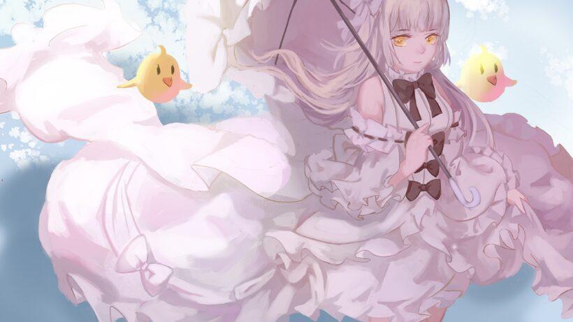 Anime tóc bạch kim, mắt vàng sáng