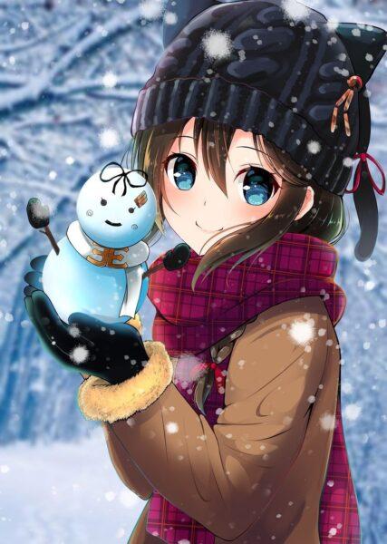 Cô bé anime và người tuyết mùa đông