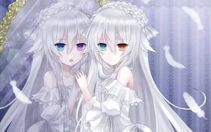 Hai anime girl tóc trắng