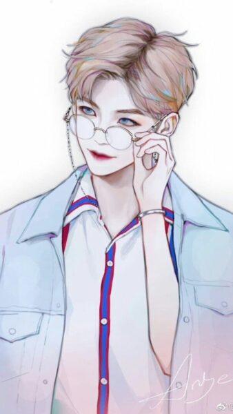 Hình ảnh anh chàng anime Hàn Quốc đeo kính
