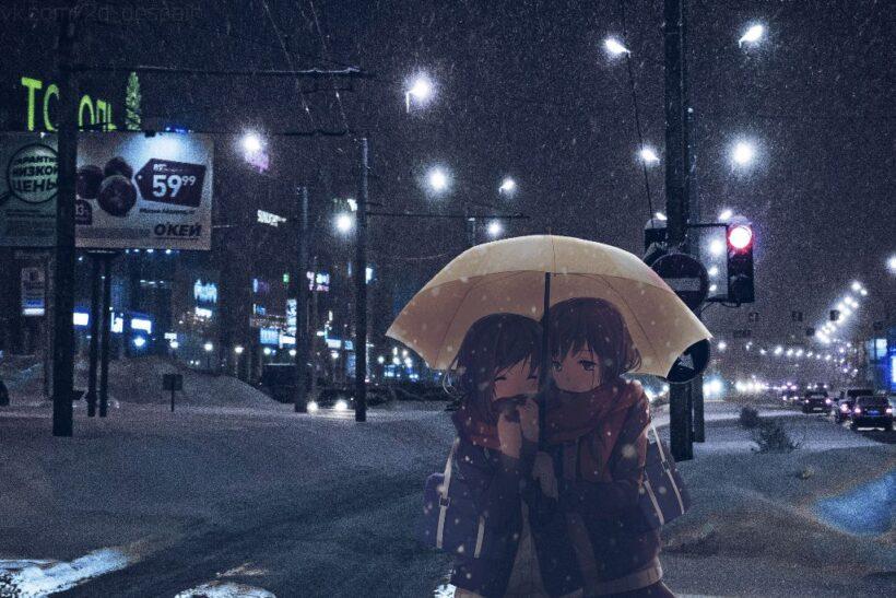 Hình ảnh anime cặp đôi mùa đông