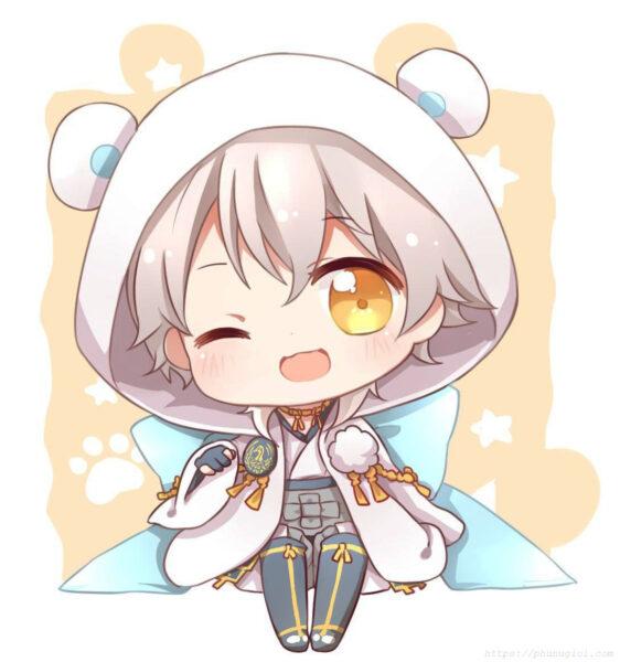 Hình ảnh anime chibi tóc bạch kim