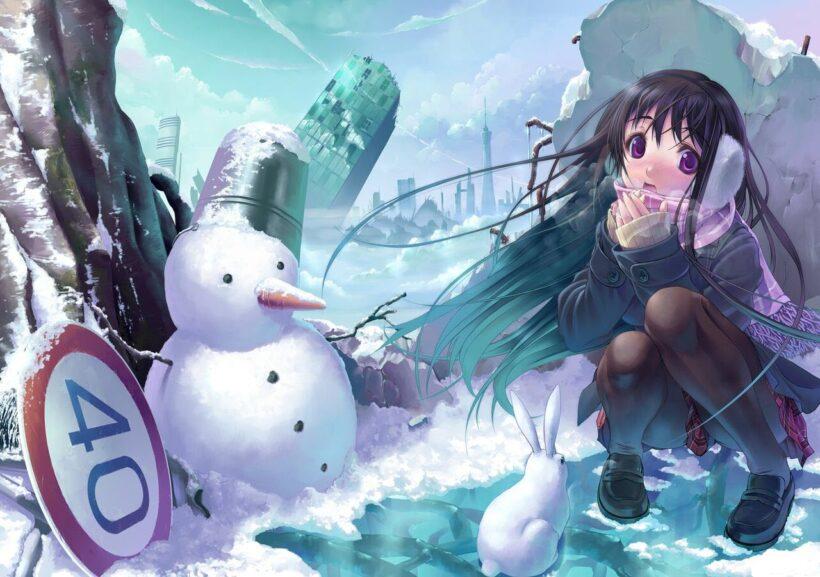 Hình ảnh anime cô gái và người tuyết mùa đông