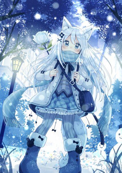 Hình ảnh anime dễ thương trong trang phục mùa đông