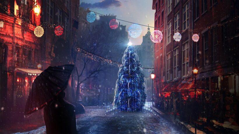 Hình ảnh anime đi trên đường phố mùa đông