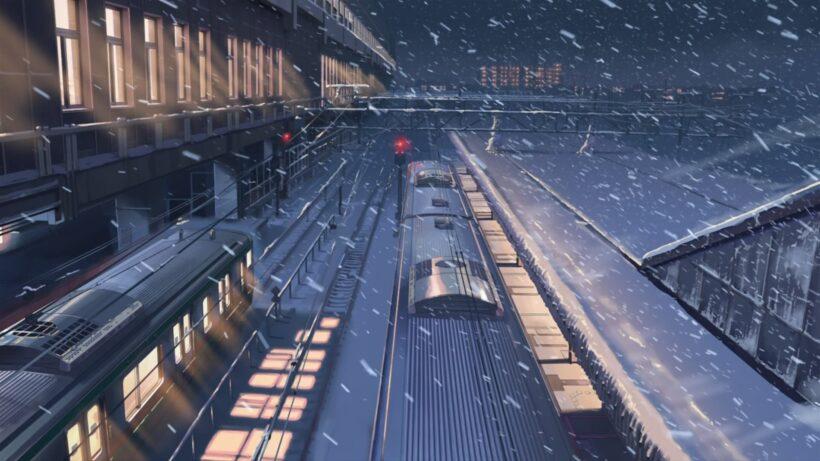 Hình ảnh anime đường tàu mùa đông