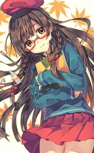 Hình ảnh anime girl đeo kính dễ thương
