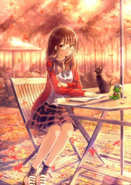Hình ảnh anime girl đeo kính học bài