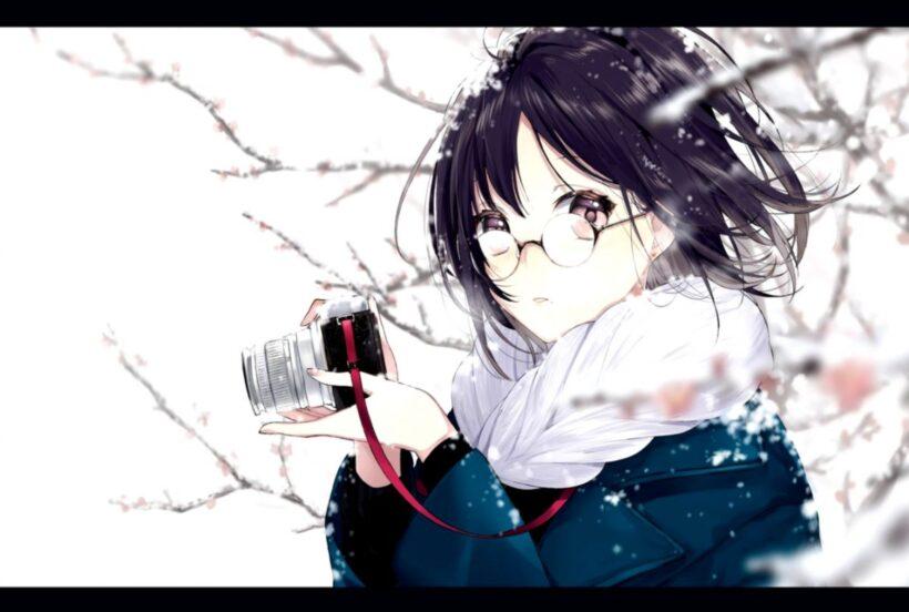 Hình ảnh anime girl đeo kính mùa đông