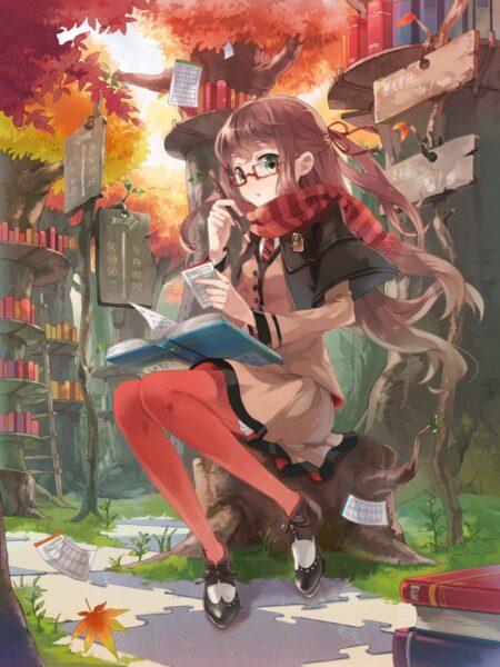 Hình ảnh anime girl đeo kính ngồi học bài