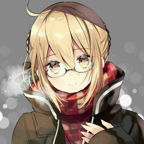 Hình ảnh anime girl đeo kính trong trang phục mùa đông