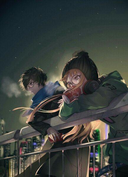 Hình ảnh anime girl đeo kính và bạn trai