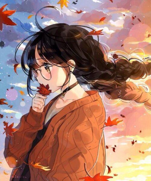 Hình ảnh anime girl đeo kính và những chiếc lá rụng
