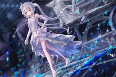hình ảnh anime girl tóc trắng