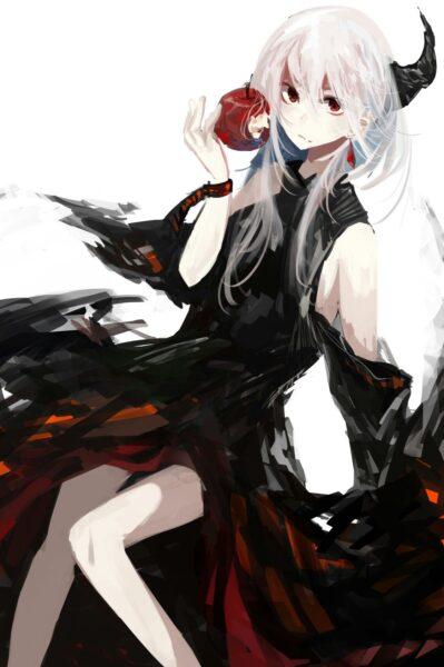 Hình ảnh anime girl tóc trắng bí ẩn