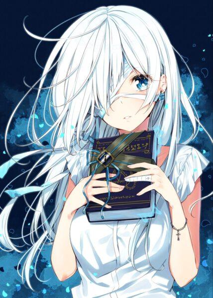 Hình ảnh anime girl tóc trắng bị băng mắt