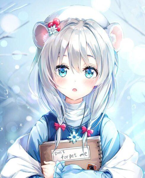 Hình ảnh anime girl tóc trắng buồn