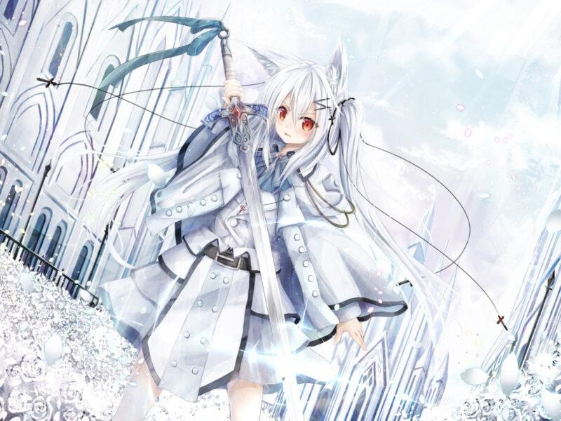 Hình ảnh anime girl tóc trắng chất