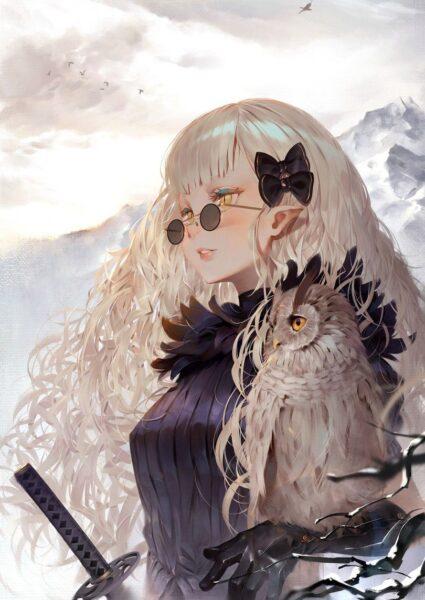 Hình ảnh anime girl tóc trắng đeo kính
