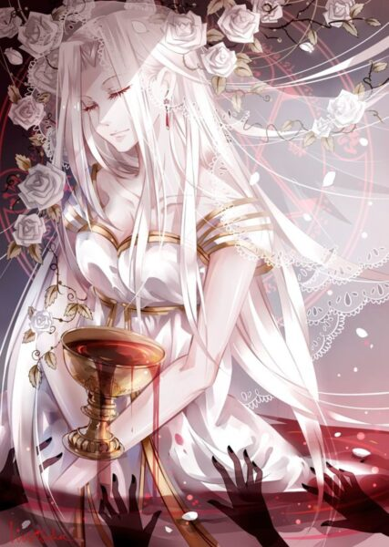 Hình ảnh anime girl tóc trắng huyền bí