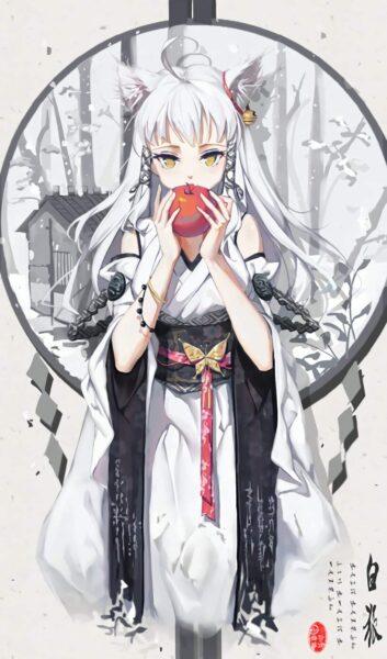 Hình ảnh anime girl tóc trắng mặc kimono