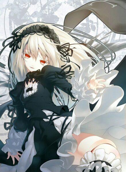 Hình ảnh anime girl tóc trắng, mắt đỏ đẹp