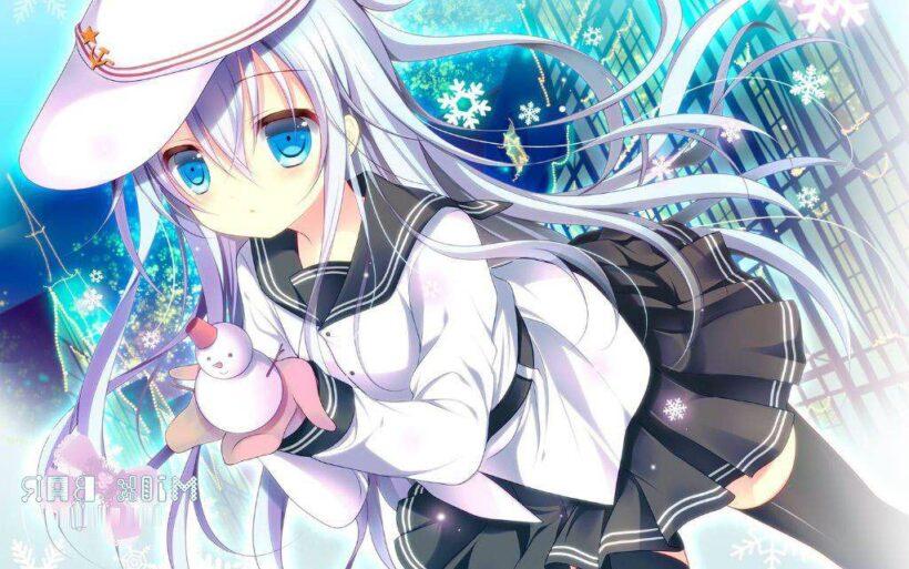 Hình ảnh anime girl tóc trắng năng động