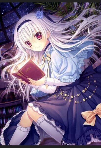 Hình ảnh anime girl tóc trắng ngồi đọc sách