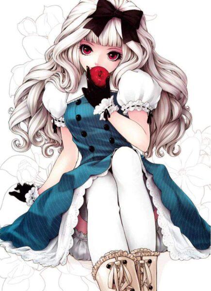 Hình ảnh anime girl tóc trắng và quả táo đỏ