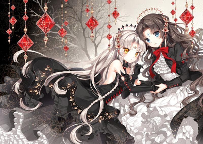 Hình ảnh anime girl tóc trắng và tóc nâu