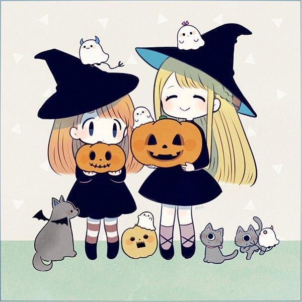 Hình ảnh anime Halloween đẹp chibi