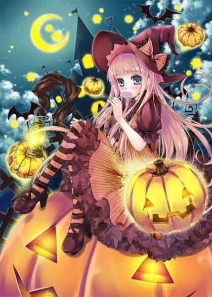 Hình ảnh anime Halloween đẹp, dễ thương