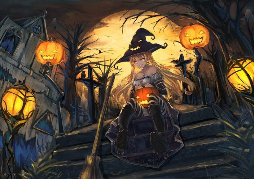 Hình ảnh anime Halloween phù thuỷ đẹp