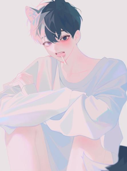 Hình ảnh anime Hàn Quốc ăn kẹo