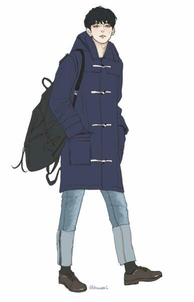 Hình ảnh anime Hàn Quốc đẹp trong trang phục mùa đông