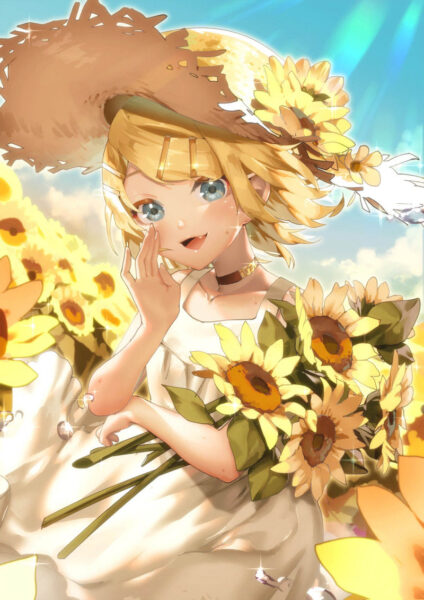 Hình ảnh anime hoa hướng dương cho điện thoại