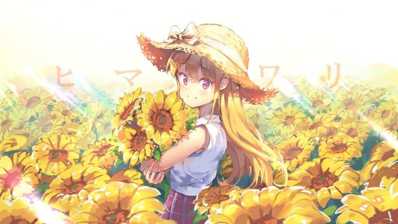 Hình ảnh anime hoa hướng dương cute