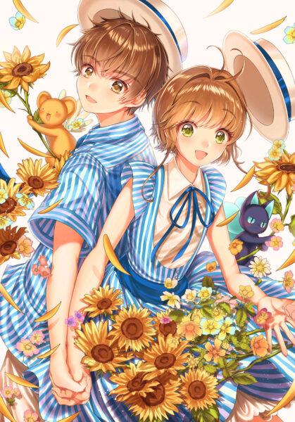 Hình ảnh anime hoa hướng dương cute, dễ thương